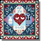 Jolly Red 'Congratulations' Wedding or Anniversary Sampler