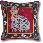 Jolly Red Renaissance Cat Tapestry Kit