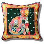 Jolly Red Patchwork Cat Tapestry Kit
