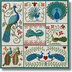 New England Needle Collection - Shaker Patchwork Peacocks Tapestry Kit
